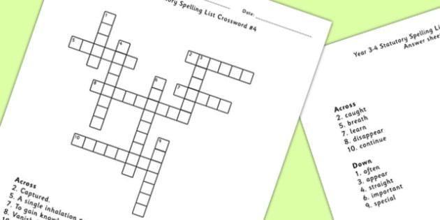 Year 3-4 Statutory Spelling List Crossword 4 - crossword, spell