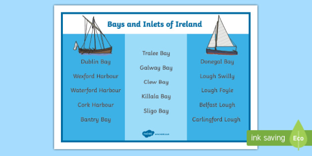 Bays and Inlets of Ireland Word Mat-Irish