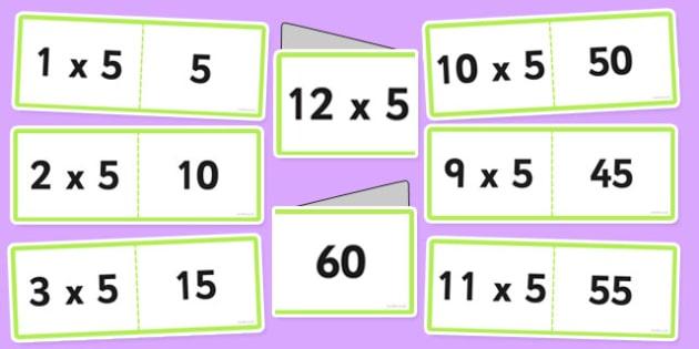 5 Times Table Cards - times table, times tables, cards, 5, fold, activity