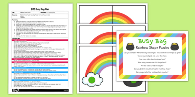 Rainbow Shape Puzzle EYFS Busy Bag Plan and Resource Pack - St Patricks Day, rainbow