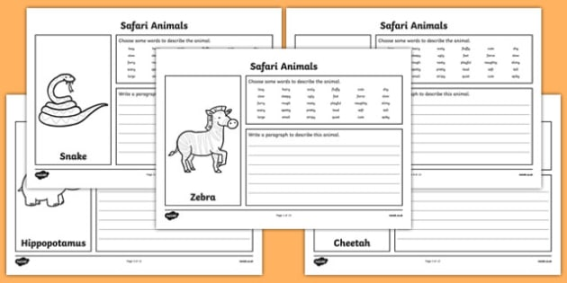 Safari Animal Description Writing Frames - safari, safari description writing frames, safari description worksheets, safari animal descriptions