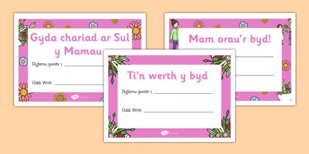 Tystysgrif Sul y Mamau - welsh, cymraeg, tystysgrif, sul y mamau, mam