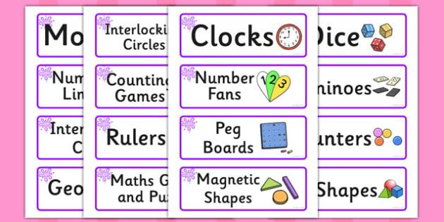 Purple Themed Editable Maths Area Resource Labels - Themed maths resource labels, maths area resources, Label template, Resource Label, Name Labels, Editable Labels, Drawer Labels, KS1 Labels, Foundation Labels, Foundation Stage Labels, Teaching Labe