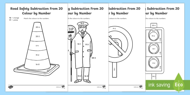 Road Safety Subtraction from 20 Colour by Number