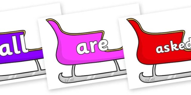 Tricky Words on Christmas Sleighs (Multicolour) - Tricky words, DfES Letters and Sounds, Letters and sounds, display, words