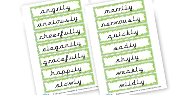 Adverbs for Dance Word Cards - Verb Primary Resources, verbs, noun, adjective, wow, keywords