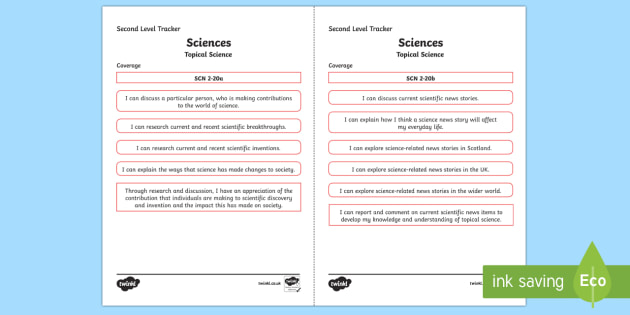CfE Sciences (Topical Science) Second Level Child Friendly Tracking