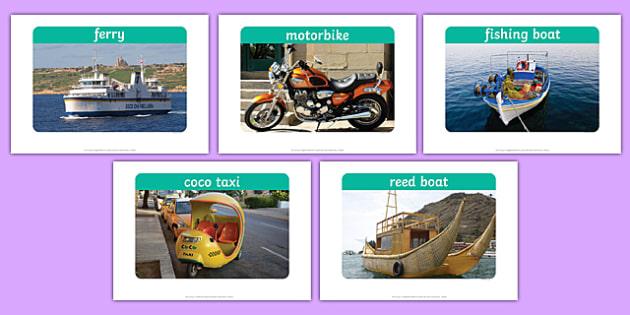 Transport Display Photos - Display Posters, Transport, A4, display, posters, car, van, lorry, bike, motorbike, plane, aeroplane, tractor, truck, bus
