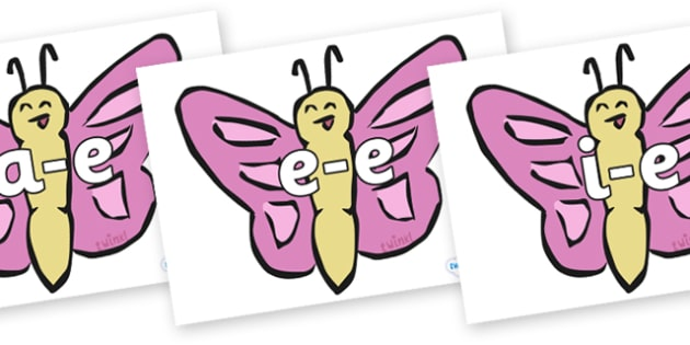 Modifying E Letters on Butterflies - Modifying E, letters, modify, Phase 5, Phase five, alternative spellings for phonemes, DfES letters and Sounds