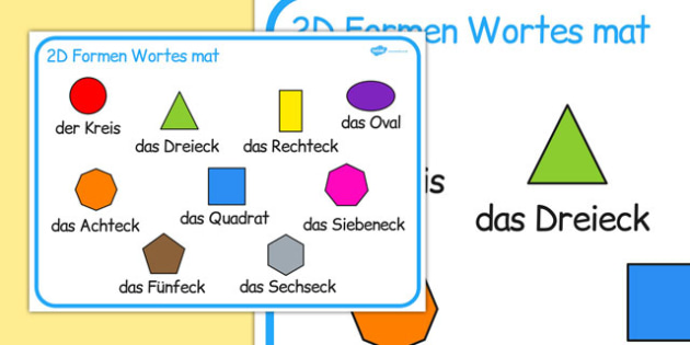 2D Shape Word Mat German - german, 2d shape, word mat, 2d, shape, maths, numeracy