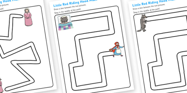 Little Red Riding Hood Pencil Control Path Worksheets - pencil