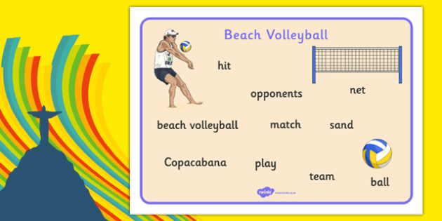 Rio 2016 Olympics Beach Volleyball Word Mat - rio 2016, rio olympics, 2016 olympics, beach volleyball, word mat
