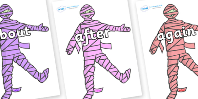 KS1 Keywords on Mummies (Multicolour) - KS1, CLL, Communication language and literacy, Display, Key words, high frequency words, foundation stage literacy, DfES Letters and Sounds, Letters and Sounds, spelling