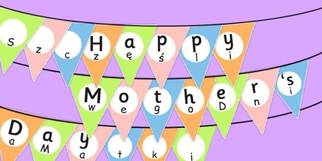 Happy Mother's Day Bunting Polish Translation - polish, mothers day, bunting, display, happy
