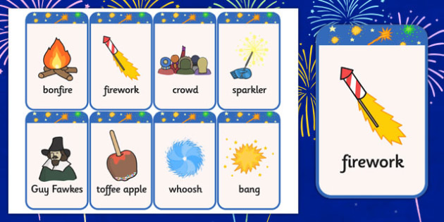 Bonfire Night Flashcards - visual aid, discussion prompt, cards