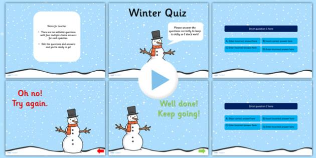 Winter Themed Editable PowerPoint Quiz - winter, winter quiz, winter powerpoint, quiz powerpoint, editable powerpoint, editable quiz, seasons, seasons quiz