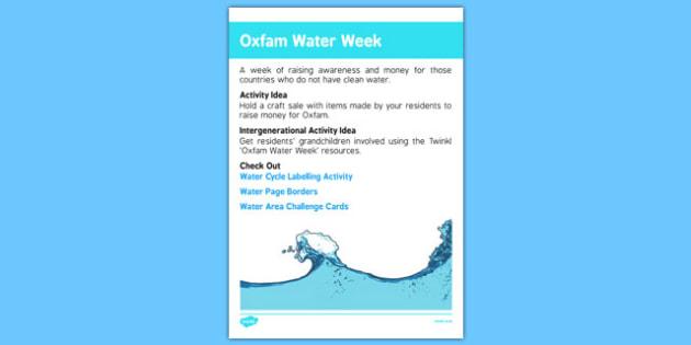Elderly Care Calendar Planning July 2016 Oxfam Water Week - Elderly Care, Calendar Planning, Care Homes, Activity Co-ordinators, Support, July 2016