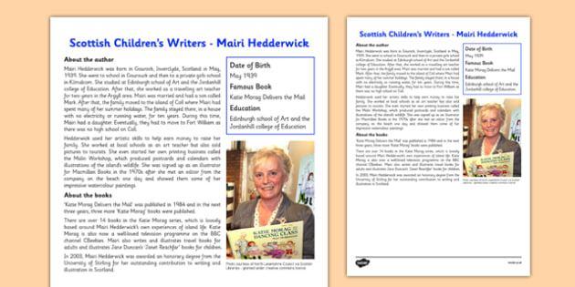 Scottish Children's Writers Mairi Hedderwick Information Sheet - CfE, Literacy, Scottish Children's Writers, Mairi Hedderwick, Katie Morag