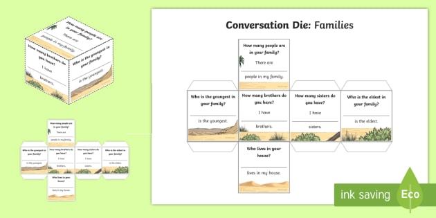 Conversation Dice Activity - UAE, adec, moe, families, speaking, listening, talking, conversation,dice