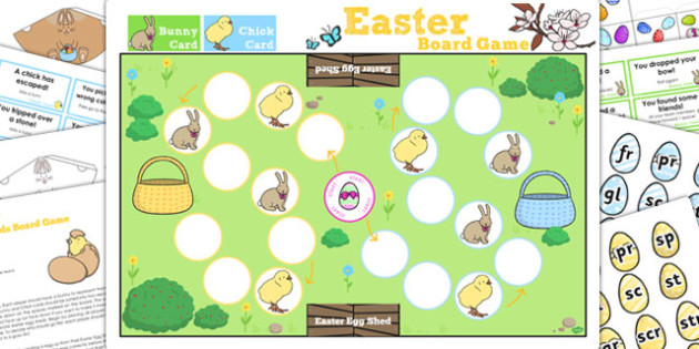Phase 4 Blends Easter Bunny Hop Board Game - activity, activities