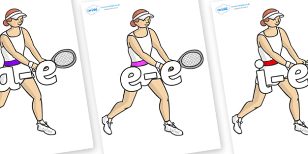 Modifying E Letters on Tennis Players - Modifying E, letters, modify, Phase 5, Phase five, alternative spellings for phonemes, DfES letters and Sounds