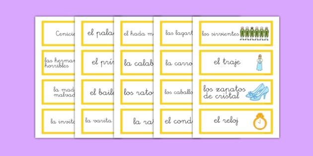 Tarjetas de vocabulario - Cenicientas - cuentos, palabras, claves, cenicientos, tradicional