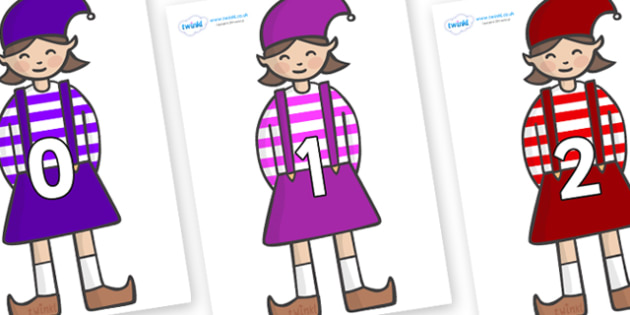 Numbers 0-31 on Elf (Girl) - 0-31, foundation stage numeracy, Number recognition, Number flashcards, counting, number frieze, Display numbers, number posters