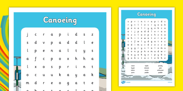 Rio 2016 Olympics Canoeing Word Search - rio 2016, 2016 olympics, rio olympics, canoeing, word search