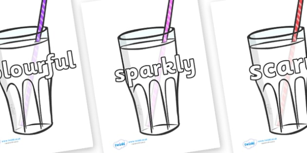 Wow Words on Milkshakes - Wow words, adjectives, VCOP, describing, Wow, display, poster, wow display, tasty, scary, ugly, beautiful, colourful sharp, bouncy