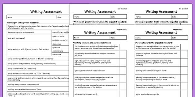 KS1 Exemplification Checklists - test, diagnostic, summative, formative
