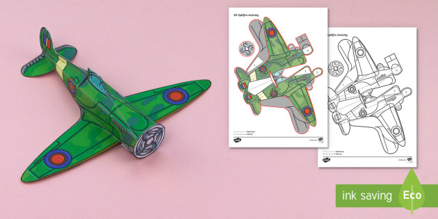 Simple 3D WW2 Spitfire Activity Paper Craft