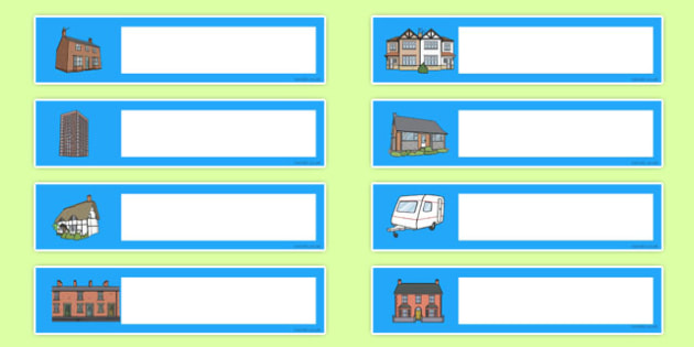 Houses and Homes Editable Gratnells Tray Labels - houses, labels