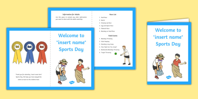 EYFS Races and Field Events Sports Day Parents Leaflet