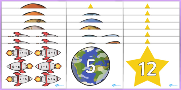 Space Themed Addition to 20 Activity - space, addition, add, math