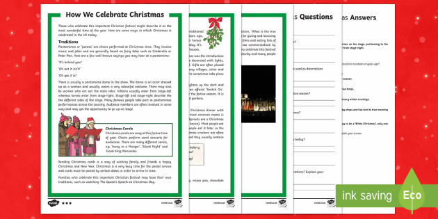 How We Celebrate Christmas Differentiated Reading Comprehension Activity - Christmas, Nativity, Jesus, xmas, Xmas, Father Christmas, Santa, traditions, food, decorations, true