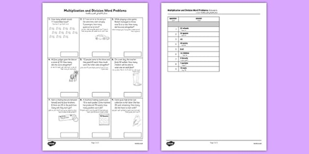 Year 2 Multiplication and Division Word Problems x2 x5 x10 Arabic Translation - arabic, Real life, context