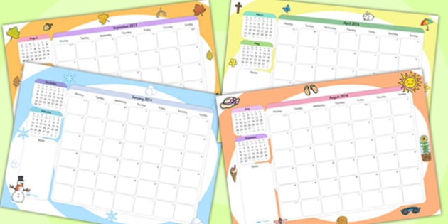 Themed Academic Year Calendar - year calendar, calendar, academic calendar, academic year calendar, themed calendar, themed academic calendar, academic