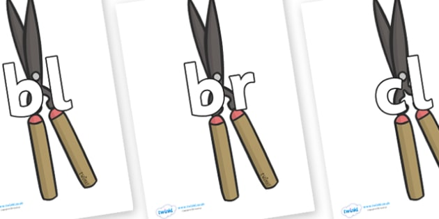 Initial Letter Blends on Shears - Initial Letters, initial letter, letter blend, letter blends, consonant, consonants, digraph, trigraph, literacy, alphabet, letters, foundation stage literacy