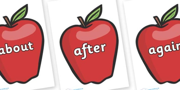KS1 Keywords on Red Apples - KS1, CLL, Communication language and literacy, Display, Key words, high frequency words, foundation stage literacy, DfES Letters and Sounds, Letters and Sounds, spelling