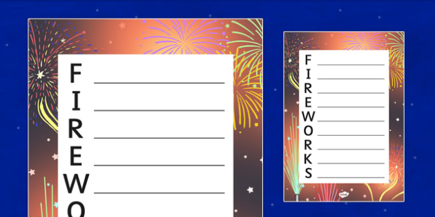 Fireworks Themed Acrostic Poem Template - fireworks, acrostic poem, template