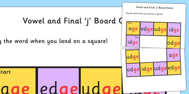 Vowel and Final 'j' Sound Board Game - j sound, board, game