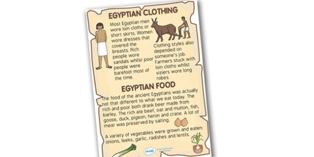 Ancient Egyptian Clothing and Food Fact Poster - ancient egypt, ancient egyptian clothes, ancient egyptian food, clothes in history, food in history, ks2