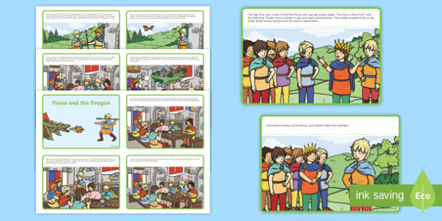 Fionn and the Dragon Sequencing Activity Sheets - Irish history, Irish story, Irish myth, Irish legends, Fionn and the Dragon, sequencing worksheet, literacy, reading