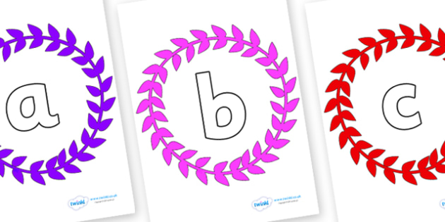 Phoneme Set on Wreaths - Phoneme set, phonemes, phoneme, Letters and Sounds, DfES, display, Phase 1, Phase 2, Phase 3, Phase 5, Foundation, Literacy