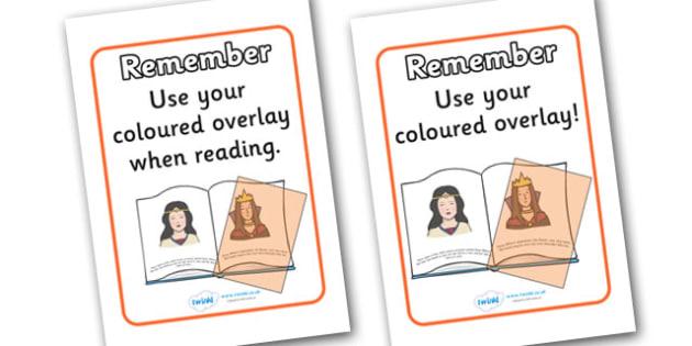 Dyslexia Colour Overlay Reminder Poster - dyslexia, colour overlay, reminder, poster, sign, cards, use your colour overlay, reminding, reminder cards