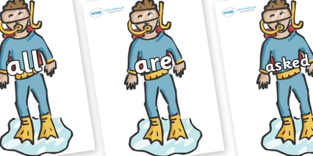 Tricky Words on Divers - Tricky words, DfES Letters and Sounds, Letters and sounds, display, words