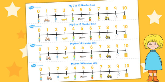 Number Lines 0-10 to Support Teaching on Titch - count, counting, counting aid, numeracy