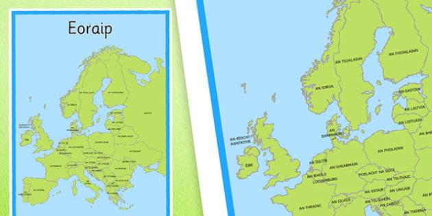 Irish Map of Europe Display Poster Gaeilge -  EAL, translated, Ireland, geography