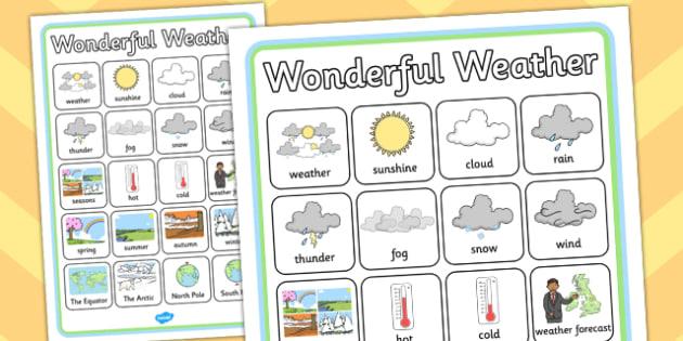 Wonderful Weather Word Grid - word grid, wonderful, weather