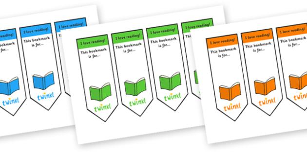 Editable I Love Reading Bookmarks - Bookmark, literacy, gift,  present, book, reading, reward, achievement